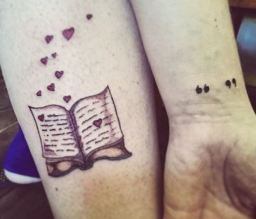 book and love heart tattoo